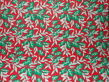Vtg Christmas 1950 Holly Berry Store Wrapping Paper 2 Yards Gift Wrap Nos