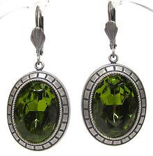 SoHo® Ohrhänger Art déco bohemia olivine handgemachte Glassteine 1960er Jahre