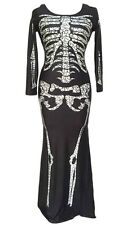 Sexy Skeleton Halloween Costume Long Dress - Size XS (6 - 8)  -  Aussie Seller