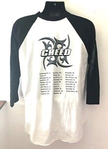 Vintage Creed band tour concert- black and white 3/4 sleeve T-shirt XL