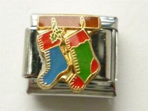 SILVER CLASSIC ITALIAN CHARM CHRISTMAS SOCK fits all design 9mm bracelet SW13