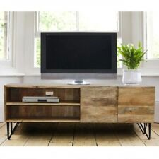 The Urban Port Industrial Style Mango Wood and Metal TV Stand With Storage Cabin