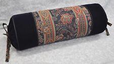 Ralph Lauren Norris Floral Stripe Paisley & Blue Velvet Fabric Custom Neck Roll