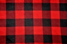 ANTI PILL RED AND BLACK BUFFALO CHECK PLAID  FLEECE MATERIAL 2 YARDS 60 X 72""