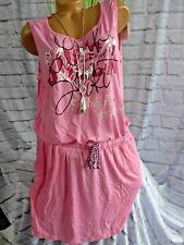 Soccx Kleid Strandkleid Ärmellos Damen Pink gemustert (609) Übergröße NEU