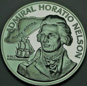 Jamaica 10 Dollars, 1976 Rare Argent Preuve ~31,000 Minted ~ Admiral Horatio