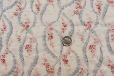 """Antique 19thC French Pink Roses & Lace Printed Lawn Fabric~9"""" X 20""""~Doll Scale"""