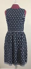 Brooks Brothers Red Fleece Dress Size 2 Navy Blue White Floral Embroidered Pleat