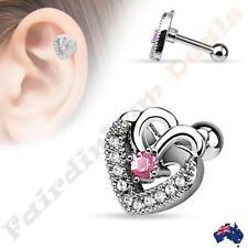 Silver Ion Plated Clear CZ Double Heart Pink Center CZ Tragus/Cartilage Stud