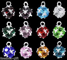 HX 12 Mixed Silver Plated Birthstone Pendants 14x10mm