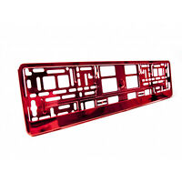 2 x Red Metallic Universal ABS Number Plate Surrounds Holders Frames M