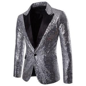 Gentleman Sequin Glitter Blazer Suit Jacket Bling Men Tuxedo Club  Party Suit
