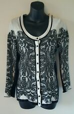 Womens cardigan petite medium black tan floral lace button front sweater
