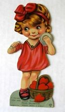 1920s Mechanical Valentine's Day Card Little Girl Putting on Make Up