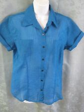 Chicos Shirt Size 8 (Chico's Size 1) Solid & Sheer Burnout Striped Casual Top