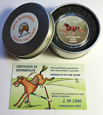 2014 Year of The Horse Aust Race Horse 1 Oz Coin and Tin C O a Ltd 1 000