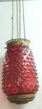 Antique Ornate Brass w Cranberry Glass Hobnail Shade Hanging Hall Lamp