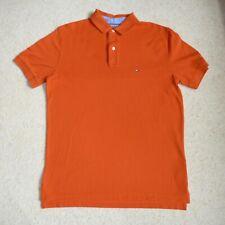Tommy Hilfiger Men's Dark Orange Polo Shirt Size L 40's Two Ply Cotton Summer