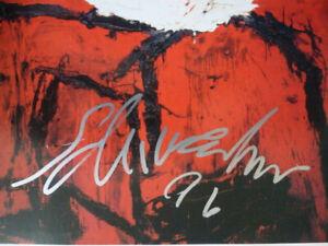 Emil Schumacher: Farbpostkarte mit eigenhändiger Signatur in hochwertigem Rahmen