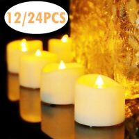 12/24Pcs Light Warm White Flameless LED Tea Lights Candles Battery Tealights