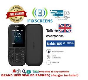 Nokia 105 Dual Sim Unlocked Mobile Phone Black Full Kit with Free Sim UK New Box
