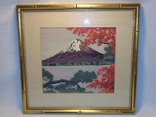 VTG CHINESE JAPANESE TEXTILE WALL ART BAMBOO FRAME VOLCANO BONSAI RED MAPLE TREE
