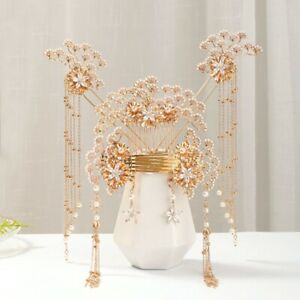 Bridal Chinese Style Pearl Hairpin Suit Xiuhe Headdress Hanfu Accessories~