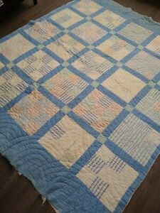 "Vintage 9 Patchwork Quilt 70"" X 82""  Hand Quilted COTTON BATTING BLUE & WHITE"