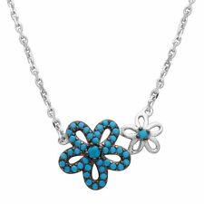 Sterling Silver Necklace w/ Turquoise Stones Double Flower Pendant