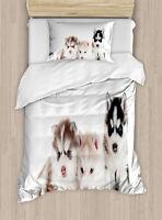 Alaskan Malamute Twin Size Duvet Cover Set Puppy Friends with 1 Pillow Sham