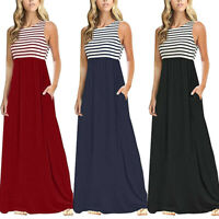 New Women Summer Casual Striped Sleeveless O-Neck Loose Maxi Dress With Pockets