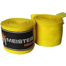 "180"" YELLOW ELASTIC HAND WRAPS - MEISTER MMA Boxing Gloves Mexican Gold Wrist"