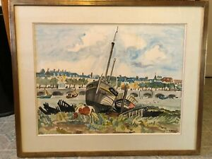 Stunning Trouville-Sur-Mer 1972 Watercolor Painting by Yves Brayer