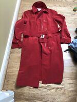 Calvin Klein Women's rain Coat  Red Long Zip Front sz XS