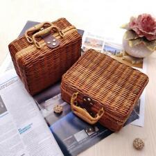 Rattan Storage Box Wicker Storage Picnic Basket Vintage Suitcase Prop Box