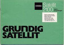 Operating Instructions-Bedienungsanleitung mit Schema Grundig Satellit 2100