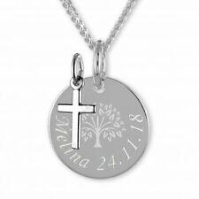 Kinderkette,Taufkette, Gravurplatte Lebensbaum mit Kreuz,Silber 925-pers.Gravur