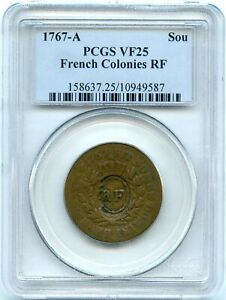 1767-A French Colonies Sou with RF Counterstamp | PCGS VF25