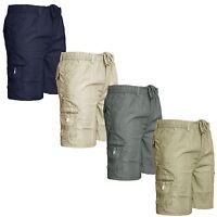 Mens Plain Elasticated Cargo Combat Summer Shorts Lightweight PolyCotton Pants