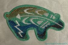 Embroidered Southwest Native Bear Teal Green Art Symbols Patch Iron On Sew USA