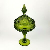Indiana Glass Vintage Green Diamond Point Covered Coved Compote Candy Dish