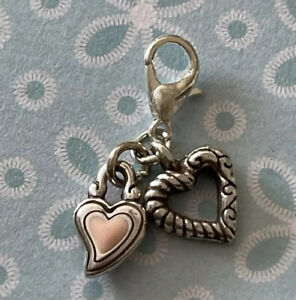 Brighton Etched & Pink Signature Heart in Silver ABC 2-Charms