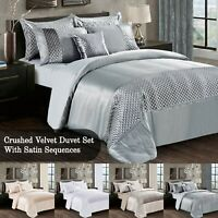 3 Piece Crushed Velvet Duvet Cover With Silky Satin Sequence Double & King Size