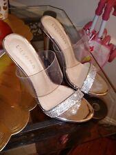 silver diamond clear heels size 8 1/2