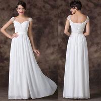 Wedding Bridal Bridesmaid Formal Long Debutante Evening Prom Gown White Dress