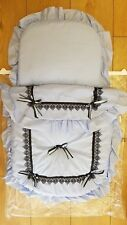 BEAUTIFUL  PRAM  SET QUILT AND PILLOW COLOUR  BLUE   / BLACK RIBBON AND BOWS