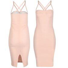 Womens Rib Stripe Midi Dress Ladies Bra Cup Strap Cut Out Bandage Party Bodycon