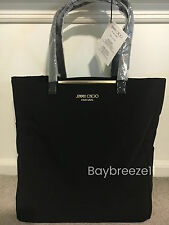New Jimmy Choo Parfums Faux Suede Tote Bag Black & Gold