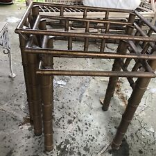 Faux bamboo 3 Nesting End Tables Metal Hollywood Regency Mid-century Modern Gold