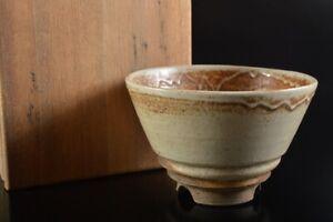 Q1222 : Japanese Old Seto-ware White glaze TEA BOWL Green tea tool w/box